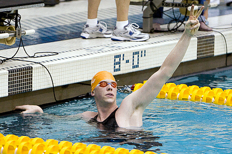 Matt McLean celebrates victory in the 1650 free at the 2009 ACC Swimming and Diving Championships swimming pictures