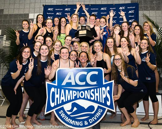 The UVA women celebrate their seventh consecutive team ACC Swimming and Diving Championship