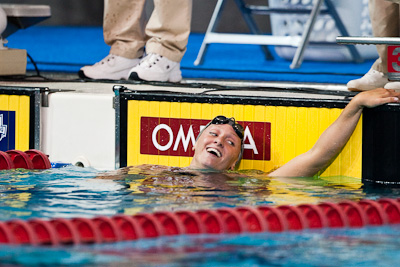 Dana Vollmer of Cal takes secures a spot on the US World Championship swimming roster with a second place finish in the 100 butterfly at the 2009 ConocoPhillips National Swimming Championships and World Championship Trials