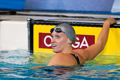 Dana Vollmer of Cal Aquatics takes first place in the 200 free at the 2009 ConocoPhillips USA National Swimming Championships and World Championship Trials