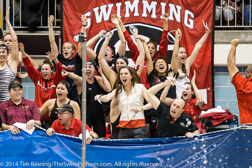 The University of Georgia Women repeat as team champions at the 2014 NCAA Division I Women's Swimming and Diving Championships
