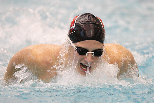 Swimming picture of Jen Vogel of the University of Maryland swims to victory in the 200 IM against Duke University and NC State