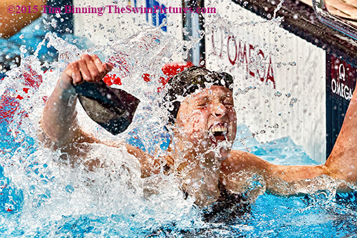 Katie Ledecky of the USA celebrates winning the gold medal in a world record  8:07.39 in the women's 800-meter freestyle at the 2015 FINA World Championships at the Kazan Arena on Aug. 8, 2015 in Kazan, Russia