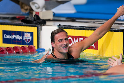 Ryan Lochte reaches out to congratulate Aaron Peirsol who broke his 200 back record.  Lochte took second place at the 2009 ConocoPhillips USA National Swimming Championships and World Championship Trials