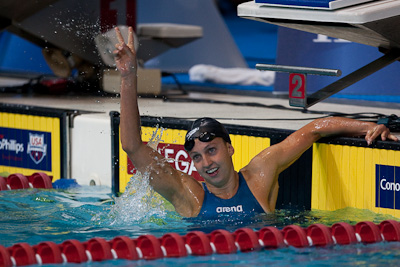 Rebecca Soni of Trojan Swim Club swims to a new American record in the 100 breaststroke at the 2009 ConocoPhillips USA National Swimming Championships and World Championship Trials