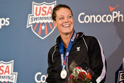 Amanda Weir of Swim Atlanta on the victory stand following a second place swim in the 50 free at the 2009 ConocoPhillips USA National Swimming Championships and World Championship Trials